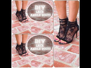 DIY video-How to make BLACK LACE ANKLE BOOTS