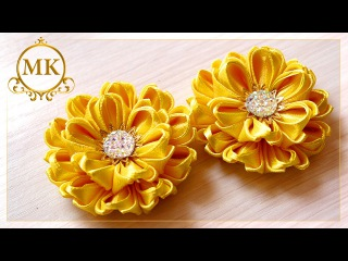 Цветок канзаши лента 2,5 см Мастер-класс / Kanzashi flower ribbon 2,5 cm Master class