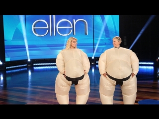 Ellen and Jessica Simpson Play 'SuMove It, Move It'  RUS SUB