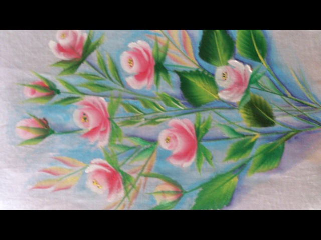 Fabric painting . one stroke fabric painting flowers and leaves. rose buds.