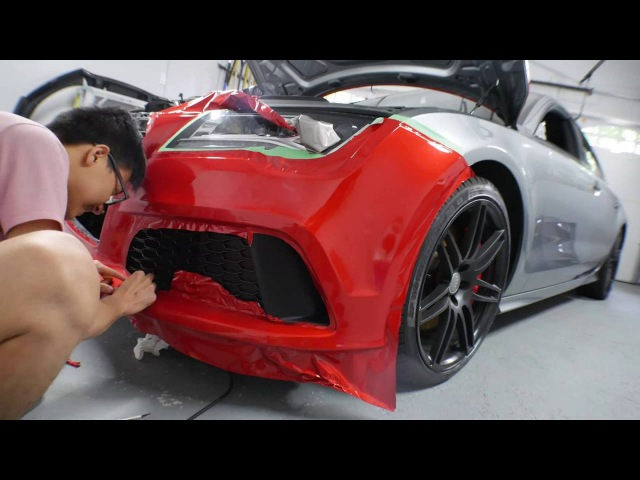Audi A7 gets wrapped 3M gloss dragon fire red Time lapse 4K