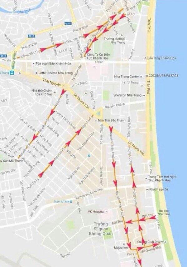 Новая схема движения автотранспорта в Нячанге с 1 сентября 2016
