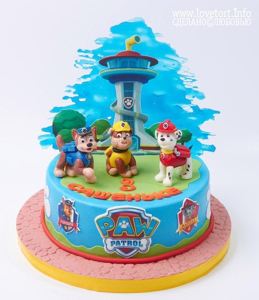 """Торт щенячий патруль """"Сашеньке 3 года!"""" cake"""