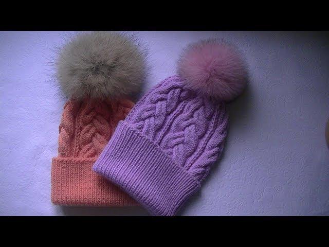 Вязание шапки спицами узором сложная косас 18 петель.
