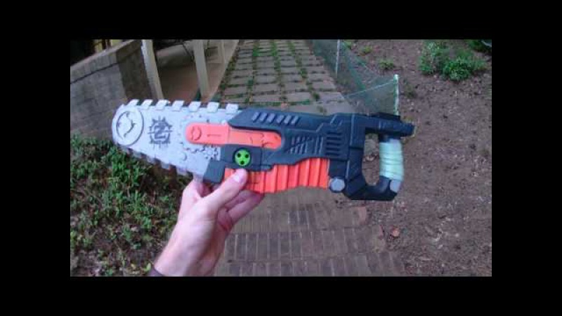 Honest Review: The Nerf Zombiestrike foam Chainsaw attachment. (Gears of War parody?)
