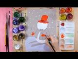Как нарисовать снеговика на лыжах - урок рисования для детей от 5 лет, поэтапно