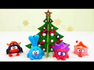 СМЕШАРИКИ наряжают Новогоднюю ёлочку - Развивающее детское Новогоднее видео со Смешариками