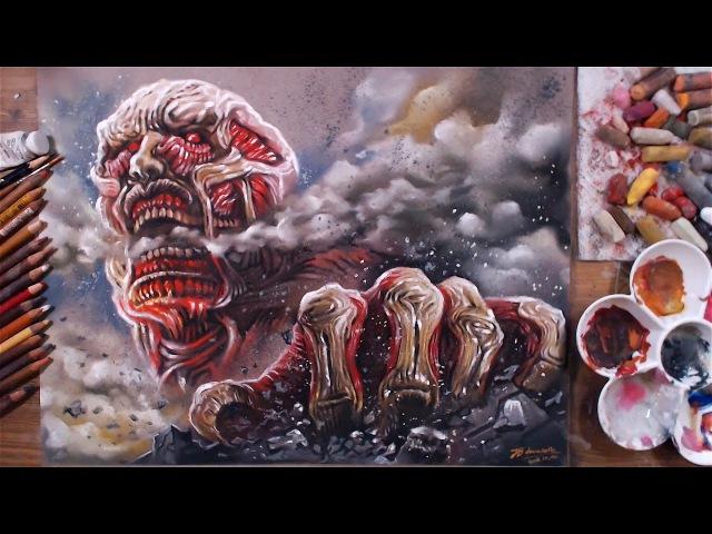 Attack on Titan: Colossal Titan - Pastel Speed Drawing | drawholic