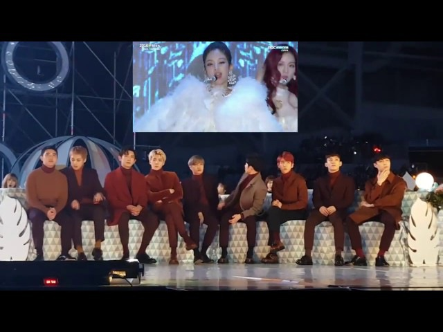 161119 EXO(엑소) reaction to BLACKPINK(블랙핑크) - WHISTLE PLAYING WITH FIRE @MMA