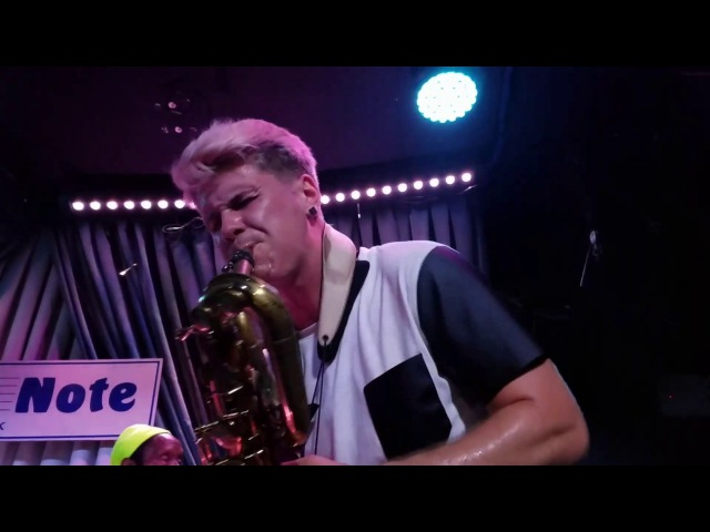 A front row view of Too Many Zooz at the Blue Note