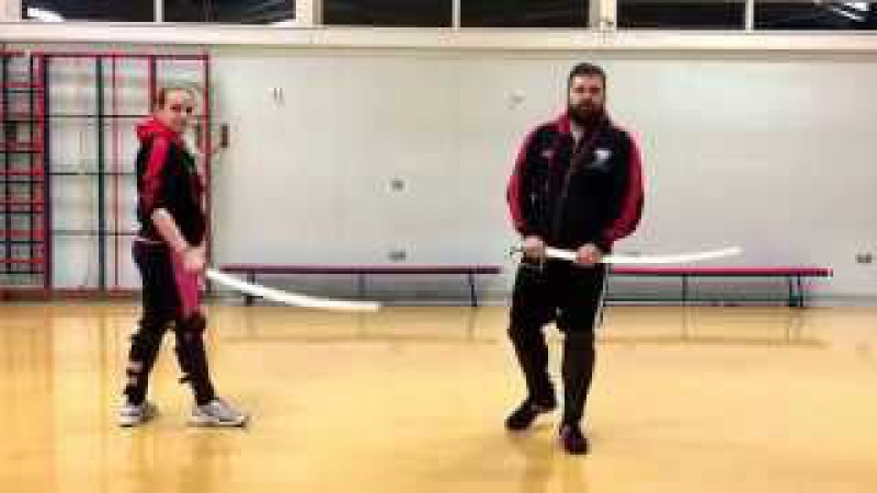 Military Sabre lesson attacking the leg
