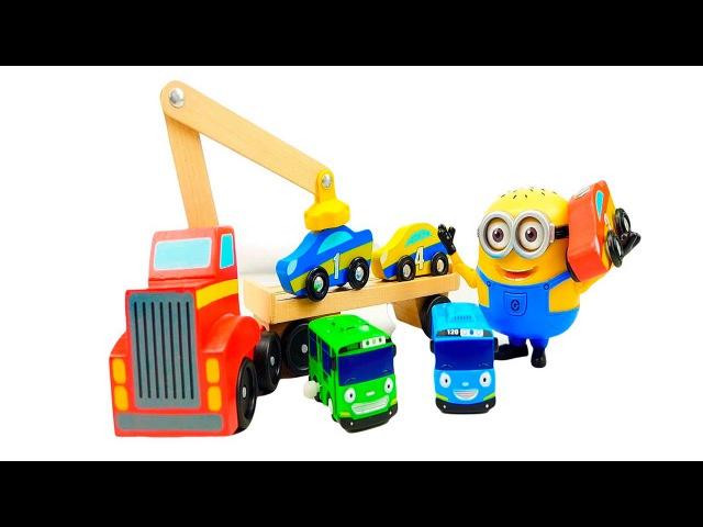 Носики Курносики • Эвакуатор с Миньоном и автобус Тайо - Развивающее видео для детей с машинками. Учим цифры
