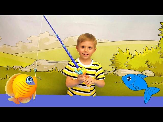 Носики Курносики • Играем с Даником в рыбалку Баттат. Весёлое видео для детей с игрушками Battat