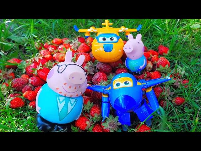 Носики Курносики • Папа Свин и Супер Крылья показывают Джорджу огород с овощами и ягодами. Peppa Pig and Super Wings