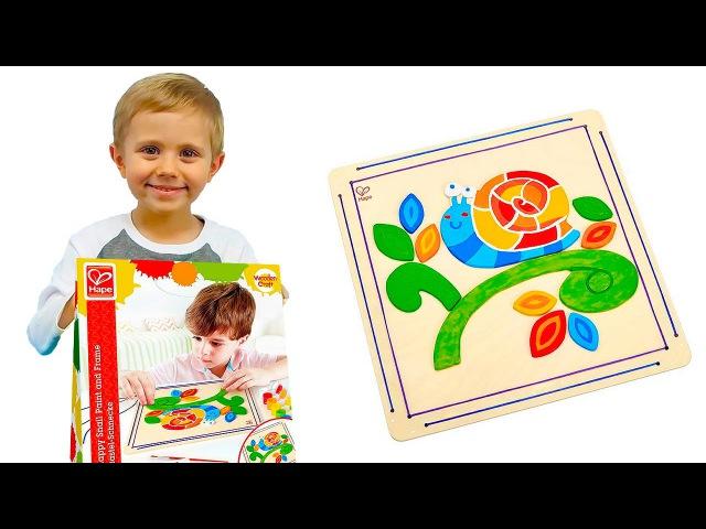 Носики Курносики • Мозаика раскраска Улитка HAPE | Развивающие видео с Даником Носики Курносики