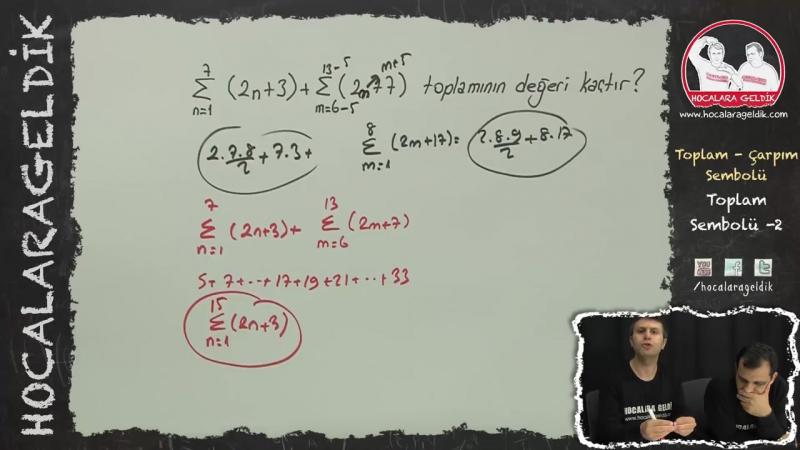 Toplam - Çarpım Sembolü Toplam Sembolü -2 - Matematik - HG