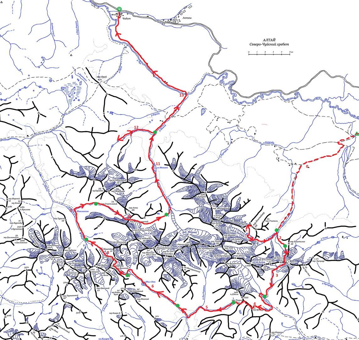 Карта, Северо-чуйский хребет