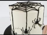 (ТОРТ-РЕЦЕПТ-VK) Торт Паутина с пауками на Хэллоуин, как сделать, мастер класс, декорирование торта, украшение торта.