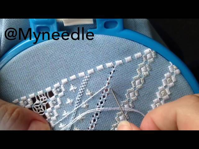 Hardanger embroidery,pulled thread embroidery.