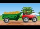 Трактор на ферме пашет землю. Развивающий мультик про трактор для детей