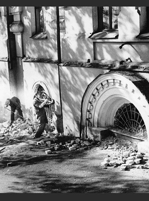 Снос дома Ипатьева, в котором произошло убийство царской семьи, 16 сентября 1977 года.