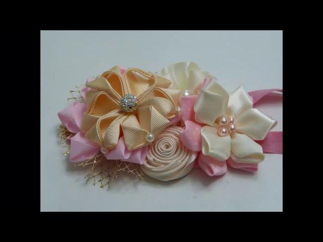 Moños para Bautizo Bebe Hermosas flores de Liston para Moños How to make flowers with ribbon
