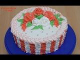 Торт с белковым заварным кремом  Украшение тортов  Розы из крема  Cake