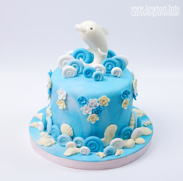 "Торт на годик ""Белый дельфин"" cake"