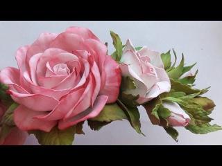 МК! Как сделать заколку из фоамирана! Простой способ! Hairpin rose from foamirana! An easy way!