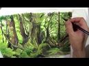 Pintura de un bosque con gouache o témpera/ painting a forest with gouache/ 水粉森林畫