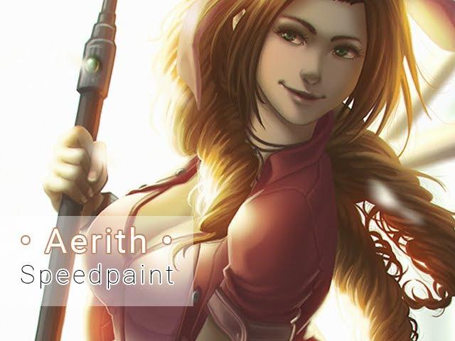 Aerith Gainsborough (Final Fantasy VII) • Digital Painting Process Video • Timelapse • Speedpaint
