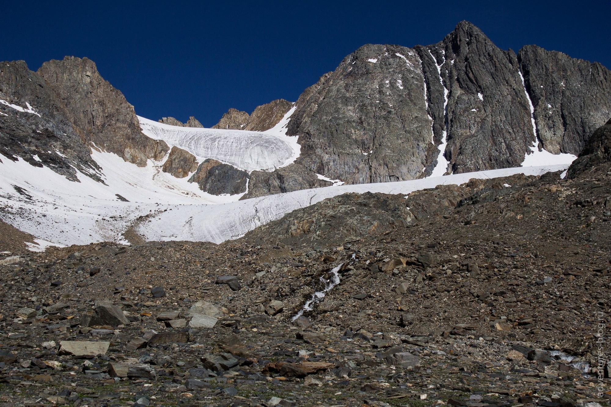 Начало ледника Ступенчатый