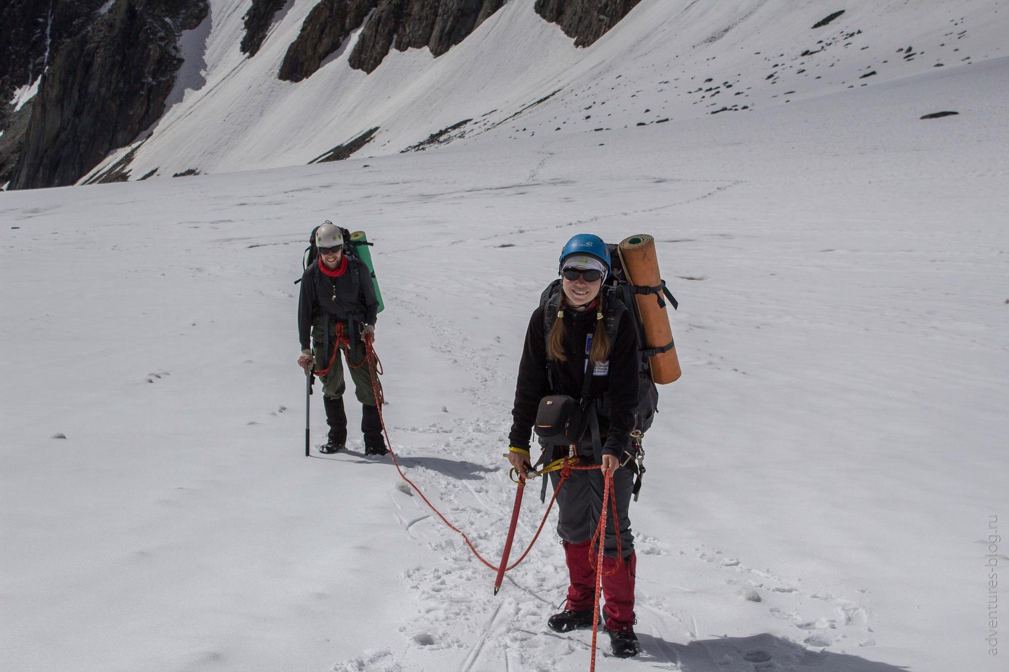 Связка на леднике Ступенчатый