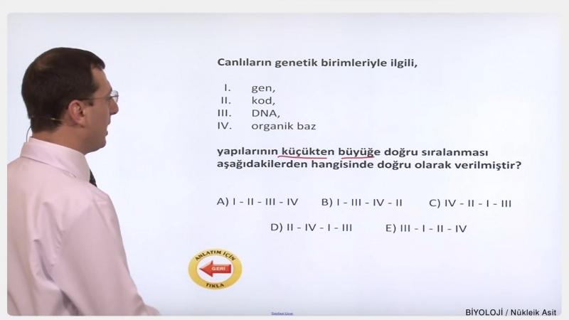 YGS-LYS BİYOLOJİ - Nükleik Asitler 2
