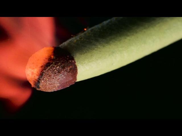 Горящая спичка в макросъемке (почти под микроскопом). Burning match in macro