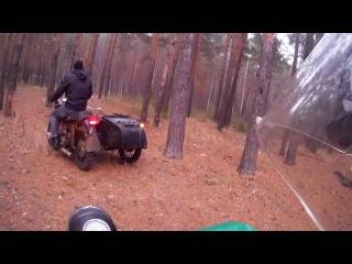Мотоцикл Урал и Днепр. Покатушки по лесу.Застряли. Отвалился глушитель.