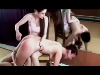 Young ladies spank older women
