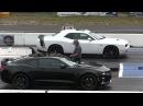 New 2016 Camaro SS vs 2015 Scat Pack Dodge Challenger 1 4 mile drag race