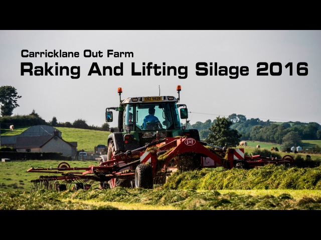 Carricklane Out farm - Raking and lifting Silage 2016 - 4K