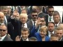 Трамп Макрон Меркель и Трюдо машут руками на саммите G7 в Италии видео 26 05 2017