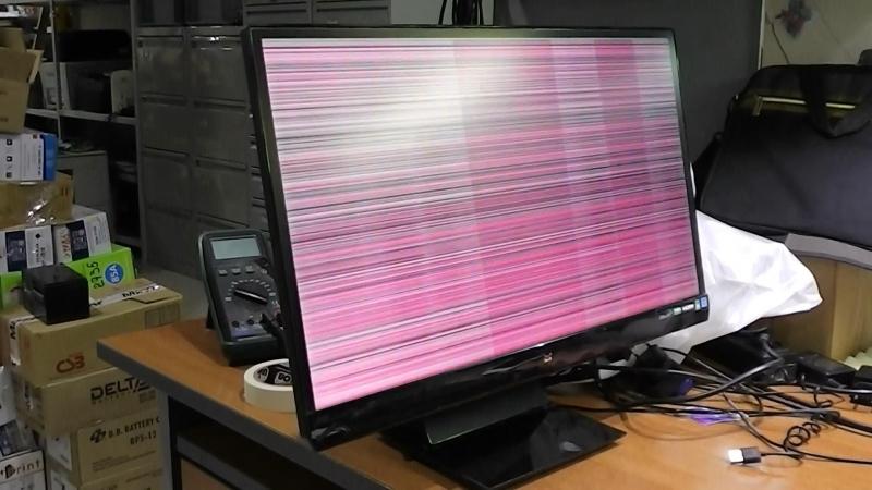 Мерцает экран. Дефекты изображения. Монитор Viewsonic VX2370SMH-LED. Плохой контакт шлейфа