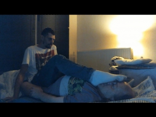 Foot on Face-Domination in Dirty White Socks and Bare-Feet,Tall-Dude size 13 usa.