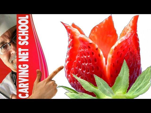 Arte em fruta, strawberry garnish, arte com morangos, decoration with fruits, fruit carving