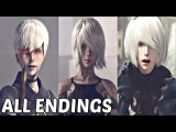 Nier Automata - All Main Endings &amp True Ending (A, B, C, D, E)