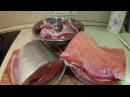 Разделка красной рыбыгорбуша, форель, семга на суп, стейки и засолку