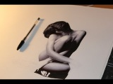 Extreme Realism BALLPOINT PEN Drawing. Beautiful Female Nude.