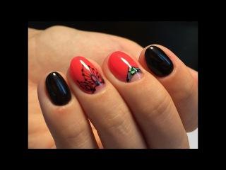 Яркий дизайн ногтей с орнаментом. Битое стекло. Треугольные лунки