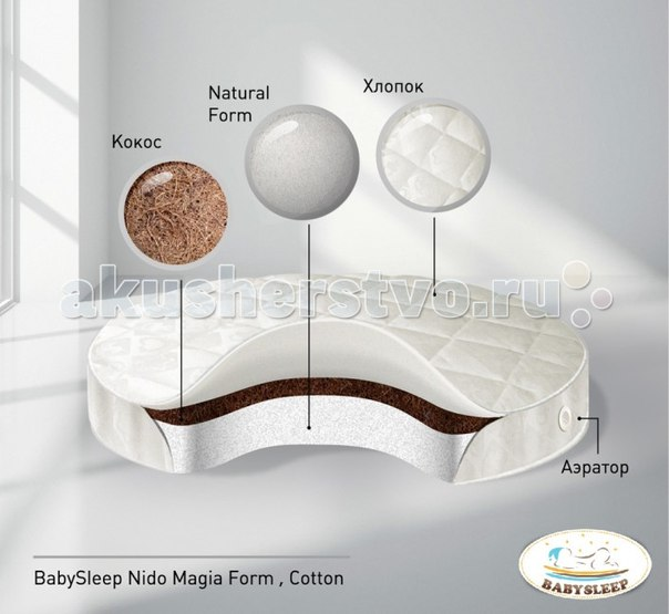 Матрас BabySleep Form Cotton в колыбель 75x75 см, Nuovita