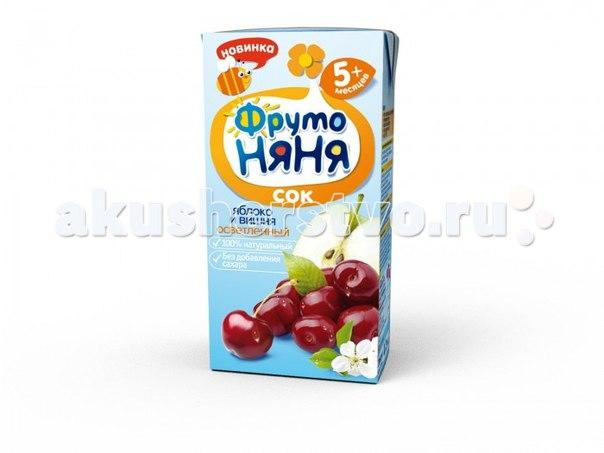Сок яблочно-вишневый осветленный с 5 мес., 200 мл, ФрутоНяня
