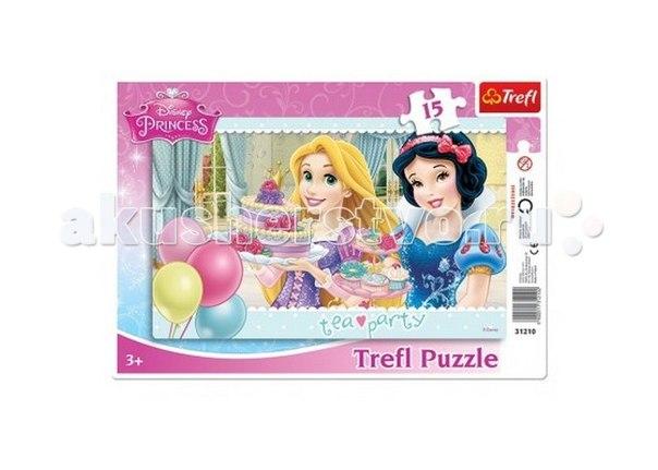 Пазл рамка - принцессы диснея чайная вечеринка 15 элементов, Trefl